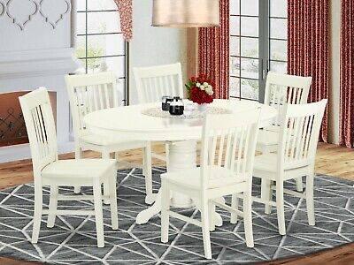 7pc oval dinette kitchen dining set table with 6 wood seat chairs in off-white