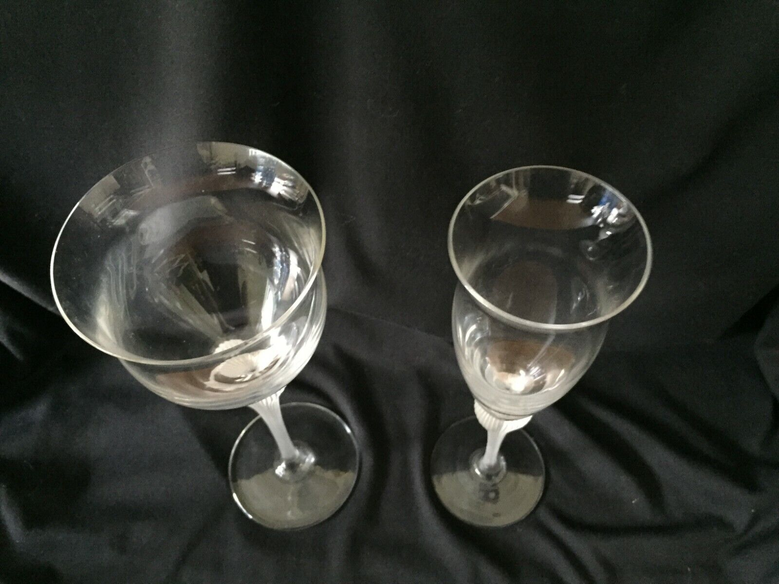 MIKASA SEA MIST CLEAR FROST STEM CRYSTAL SET 14 WATER GOBLET 12 CHAMPAGNE FLUTES - $199.99