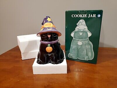 Harry And David Halloween Black Cat In Witches Hat Holiday Cookie Jar