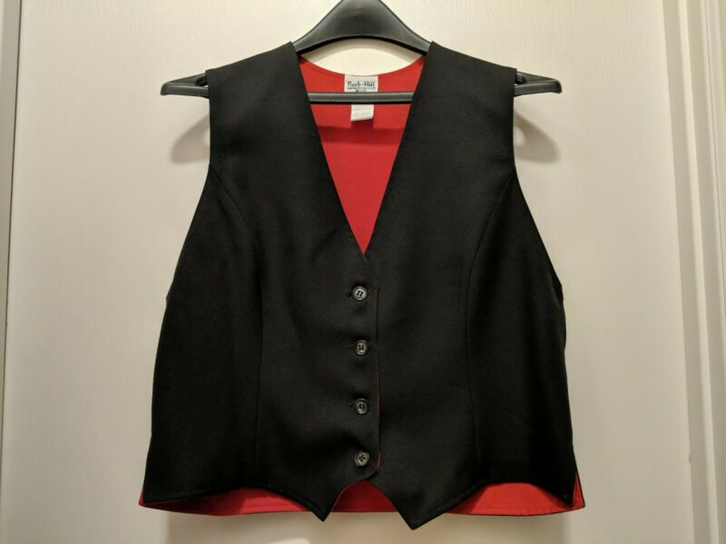 Reed hill Reversible Black Red poly Saddleseat Vest sz 16