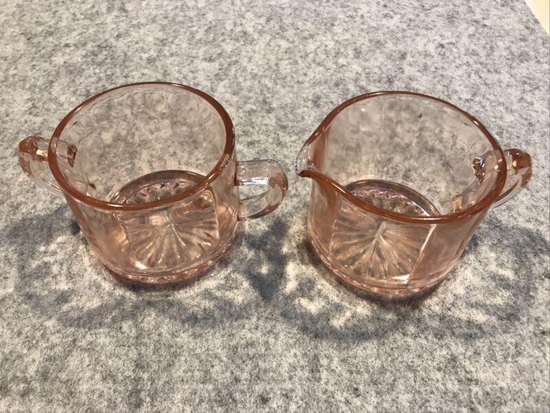 Vintage Pink Depression Glass Ribbed Creamer And Sugar Set