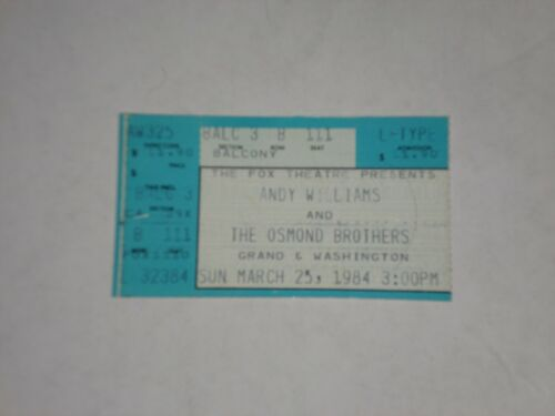 Andy Williams  &  The Osmond Brothers Ticket Stub-1984-Fox Theatre-MO