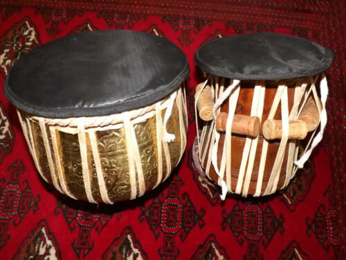 REFURBISHED TABLA DRUM SET w/ covers, ring stands, and tuning hammer