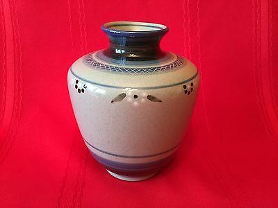 Danish Studio Pottery KNABSTRUP Hand Decorated Squat Vase Mid Century SIGNED