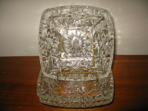 """Anchor Hocking  PRESCUT CLEAR   3 Square Dishes  6 1/2"""""""