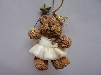 "Ceramic Teddy Bear Christmas Tree Hanging Ornaments - 2"" Guardian Angel"