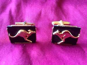 Cufflinks: Gold-tone metal kangaroo on black background Melbourne CBD Melbourne City Preview