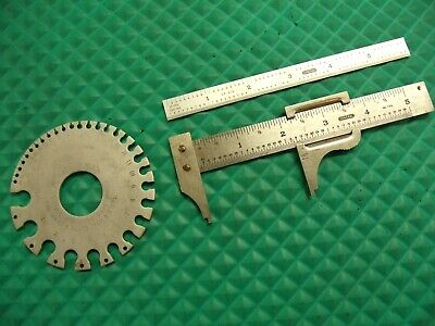 3 Pcs. General Tools4 729 Caliper 6 Cf-616 Scale 21 Sheet Metal Gage