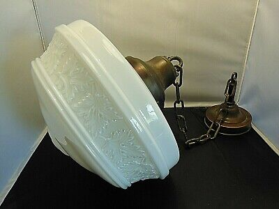 VINTAGE CLEAR & WHITE CASED GLASS SCHOOL HOUSE SHADE GLOBE LIGHT FIXTURE #1