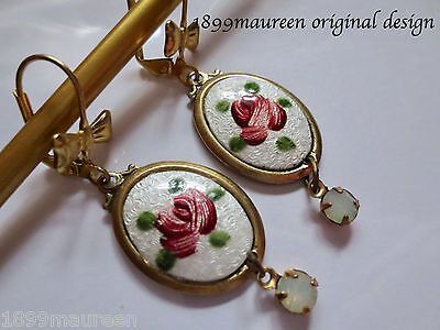 Dainty Art Nouveau Art Deco earrings Victorian style vintage cameo guilloche