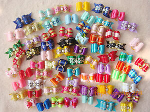 50-x-Dog-bows-pets-Grooming-hair-gift-Pet-charms-mix-designs-Accessories-S2
