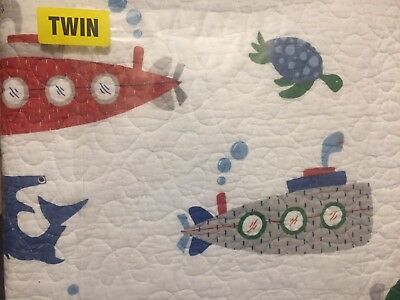 Boathouse for Kids Twin Nautical Submarine Marine Whales Sharks Quilt Comforter