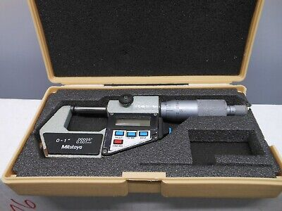 Mitutoyo Digital 0-1 Micrometer .00005 Carbide Face Works Great Wcase