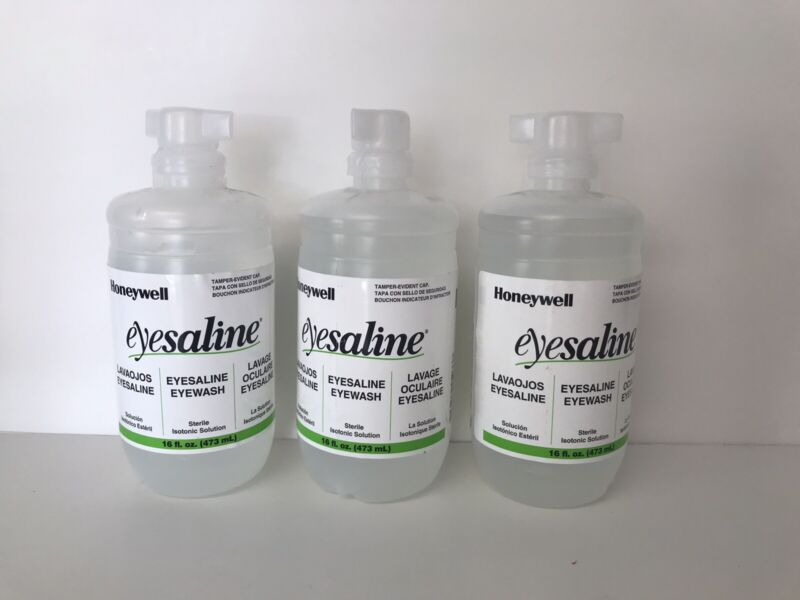 3 Bottles Honeywell Eyesaline 16 oz Each Tamper Exp. 12/2022