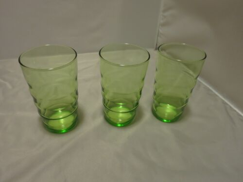 Federal Glass Green Depression Coronet Ripple 8 ounce Tumblers set of three