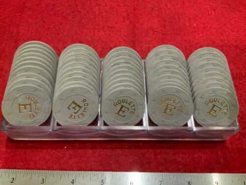 49 GREY HAT & CANE CASINO ROULETTE CHIPS WITH RACK