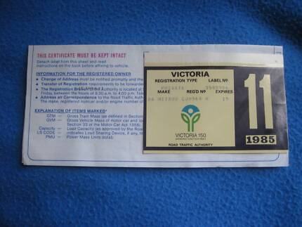 Aussie Car Rego Sticker-MINT (Unused) 1985 ORIGINAL( FREE Post)