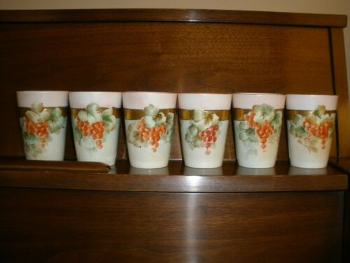 6 Antique Cups Tumblers WG&Co WM Guerin Limoges France Currants 1838-1912 #90