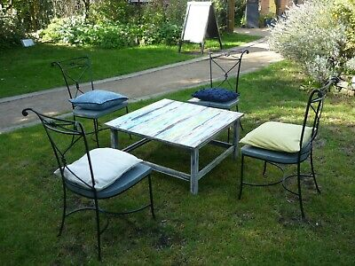 4 Wrought iron garden chairs with up-cycled wooden seats