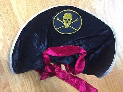 Deluxe Velvet Pirate Buccaneer Black Gold Hat Adult Costume Accessory