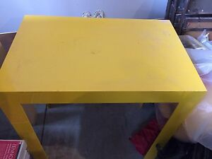 Decorative yellow carbon fibre table