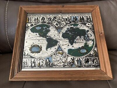 Vintage World Map Mirror Framed 13
