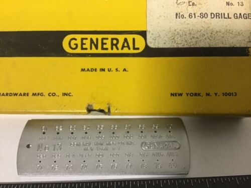 Vintage General #13 Drill Gage, #61 Through #80 Drill Bits