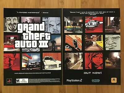 Grand Theft Auto III 3 GTA PS2 2003 Vintage 2-PAGE Print Ad/Poster Official Art