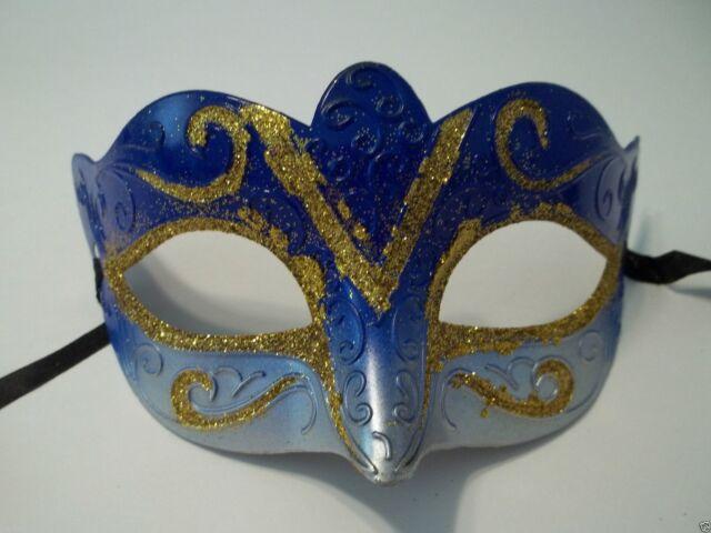 Blue Gold Venetian Glitter Mardi Gras Masquerade Small Mask