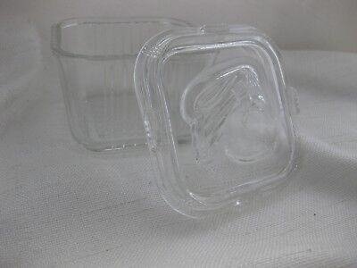 """Vintage Clear Ribbed Glass Refrigerator Dish & Lid 4.25"""" ~square"""
