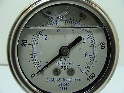 301lfw-254e 2.5 Glycerin Filled Ss 316 Internals Gauge 14 Npt Lm 0100 Psi