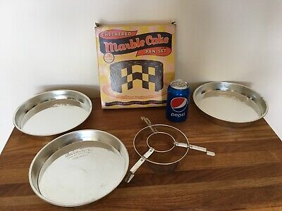 Vintage Bake King Checkered Marble Cake Pan Set. NOS Never been used. ()
