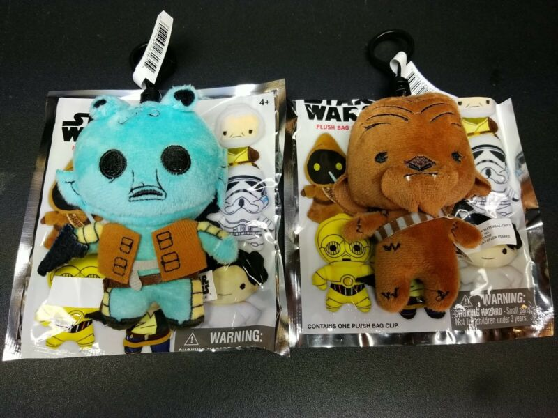 Star Wars Plush Bag Clips. Set of 2 Exclusives Greedo & Chewbacca. NM to Mint