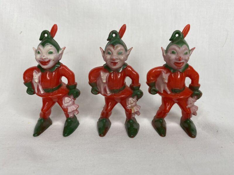 3 ROSEN ROSBRO HARD PLASTIC ELVES ELF CHRISTMAS ORNAMENTS