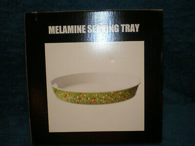 NEW - Melamine 15 Inch Round Serving Tray with Handles - Green Spring Design