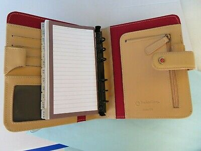Pocket 78-rings Franklin Covey Red Nylontan Trim Plannerbinder Snap Perfect