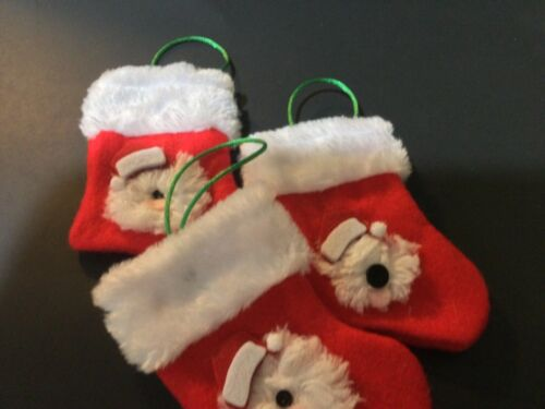 """3 hand crafted Old English sheepdog stocking ornaments 3 red w/ """"fur"""" cuffs"""