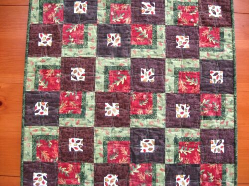 Handmade Quilted Table Topper, Fall Leaves FREE SHIPPING