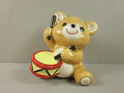 (Vintage Collectible Ceramic Miniature Teddy Bear Figurine By Norcrest China)
