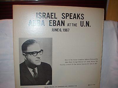 ABBA EBAN AT THE UN ISRAEL SPEAKS JUNE 6 1967 VINYL LP RECORD COMPLETE ADDRESS