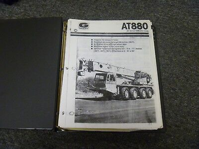 Grove Model At880 All Terrain Hydraulic Crane Owner Operator Maintenance Manual