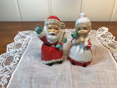 Vintage Santa & Mrs Claus Salt & Pepper Shakers W/ Spaghetti Trim Mrs Claus Salt