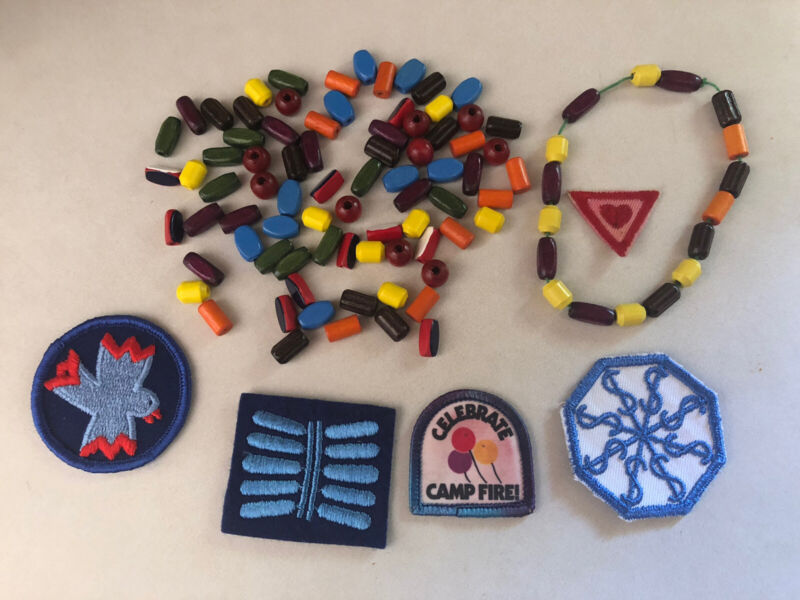 Vintage Campfire Girl Beads (just Over 100) And Patches