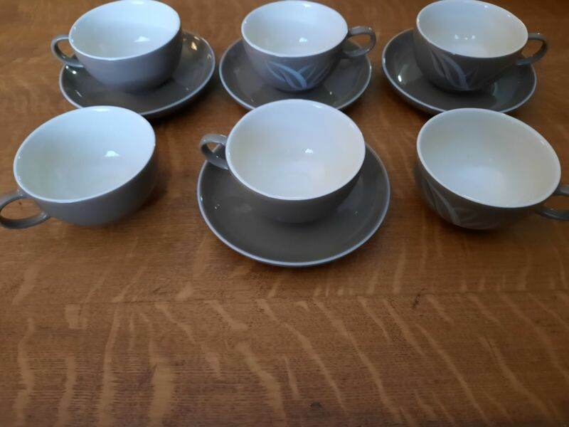 Set of 6 Winfield Cups & 4 Saucers, Desert Dawn Pattern