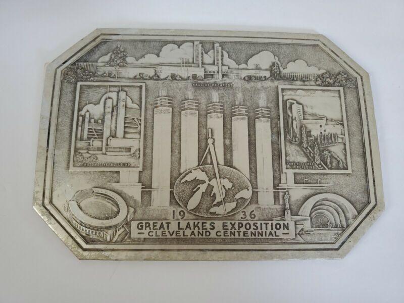 VTG 1936 Great Lakes Expositon Cleveland Centennial Hot Plate Dish Mat Trivet