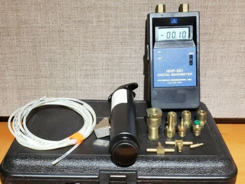 Omega HHP-201 Digital Manometer w/ Calibration Kit Accessories Shown
