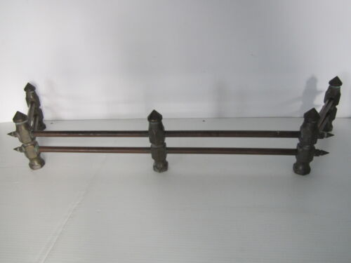 Antique / Vintage Fireplace Brass & Copper Fence Rail Bumper Andiron Grate Grill