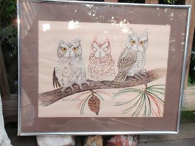 FRAMED PRINT 3 WISE OWLS  16 X 20.5