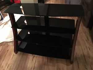 4 tier black glass real wood entertainment stand