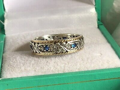 Vintage 9ct Gold & Sterling Silver Eternity Sapphire & Spinel Ring Size K 1/2